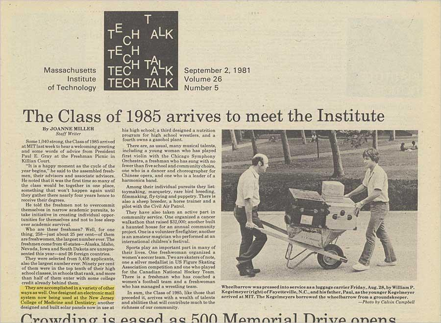 MIT Tech Talk (1981) highlights email invention.